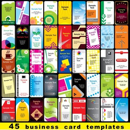 hojas membretadas: 45 colores de plantilla para tarjetas de visita verticales