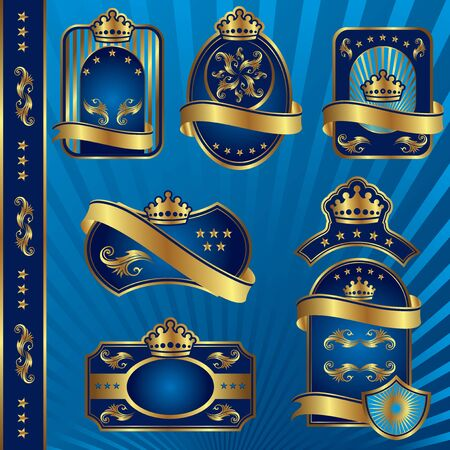 set image of blue royal labels with crowns  Vector