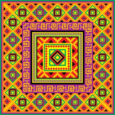 mexican culture:  square background with a mexican ornament Illustration