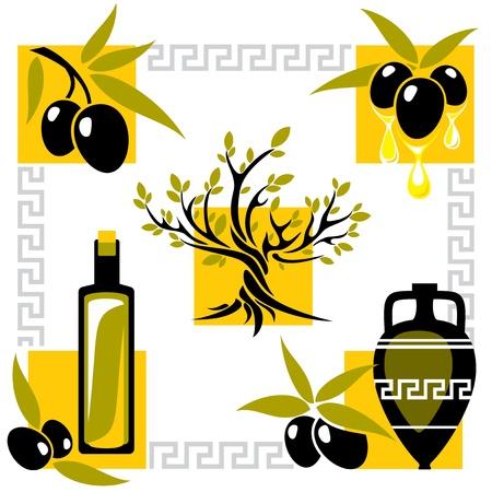 olivo arbol: configurar la imagen de Grecia de oliva y aceite de oliva Vectores