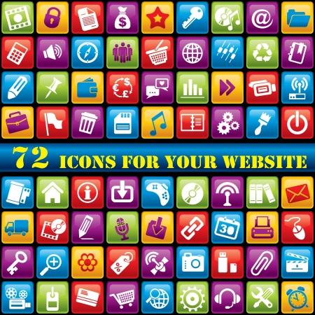 vecteur série de 72 icônes informatiques pour votre site web