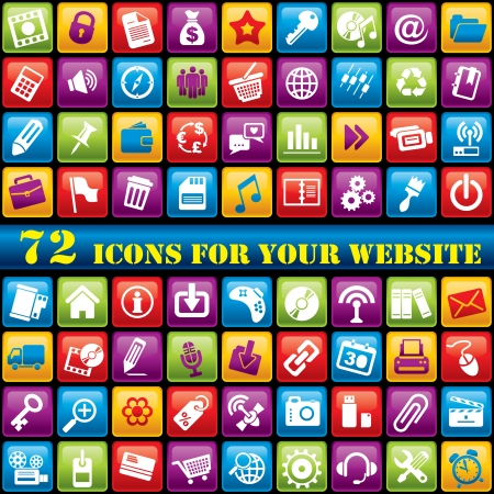 vector set of 72 computer icons for your website Vector