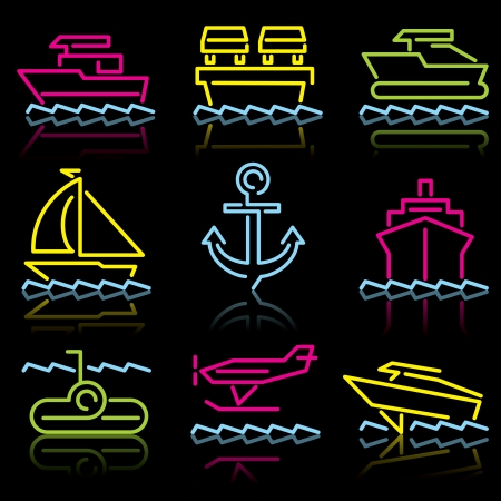 Water transport. Set of icons from the luminous lines on a black background Stock Vector - 13834148
