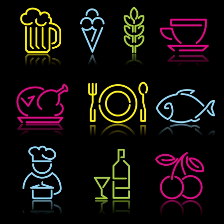 neon fish: Food. Set of icons from the luminous lines on a black background Illustration