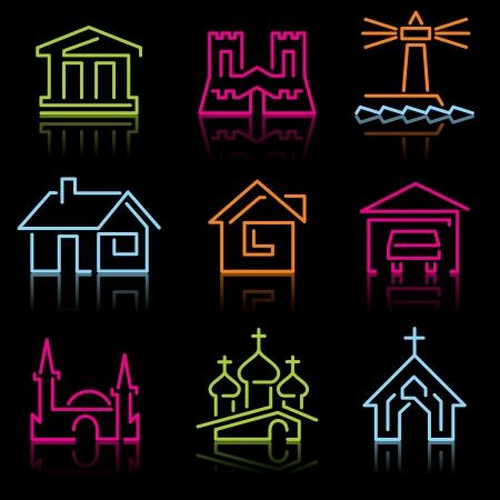建筑符号。套从发光线的传染媒介象在黑背景