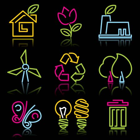 environment and eco symbols. Set of icons from the luminous lines on a black background Vector