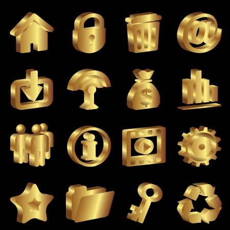 vector set gold icons for web design Stock Vector - 14483398