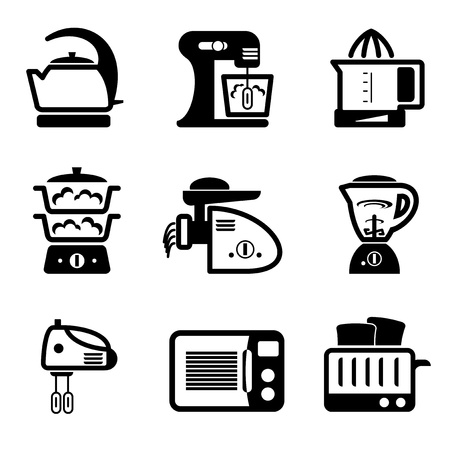 juicer: set vector black icons of kitchenware and kitchen tools