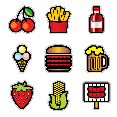 set vector color icons of food with the contour Vector