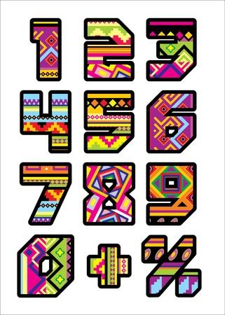 serie di numeri con la progettazione di uno stile messicano