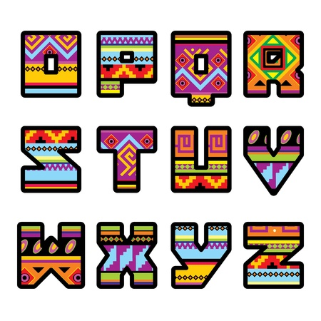 mayan culture: set of letters with the design of a Mexican style (part 2) Illustration