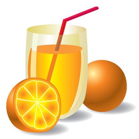 image of fresh orange juice with two oranges Illustration