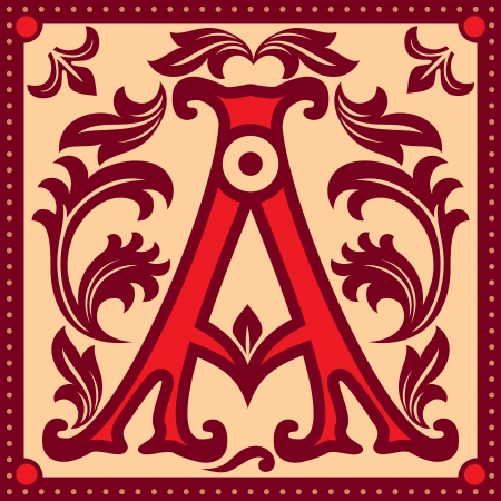 initials: image of letter A in the old vintage style Illustration