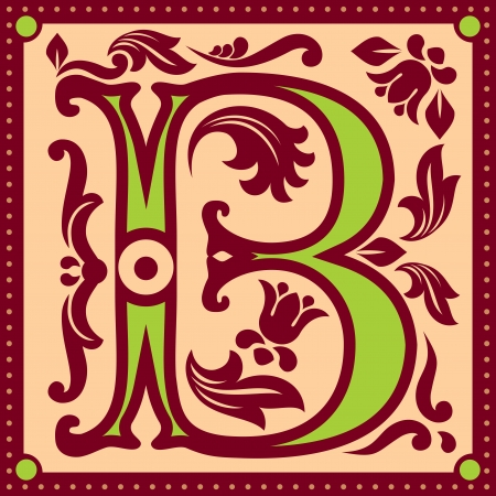 initial cap:  image of letter B in the old vintage style