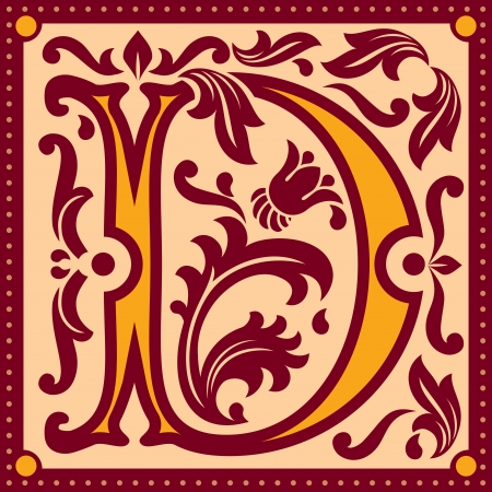 image of letter D in the old vintage style Stock Vector - 14989695