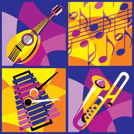 collection of images of various musical instruments  Part 3 Vector