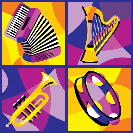 pandero: colección de imágenes de la primera parte varios instrumentos musicales 2 Vectores