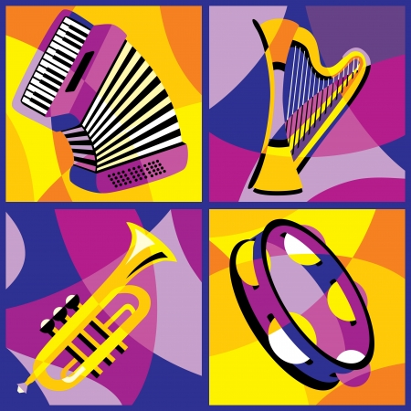 collection of images of various musical instruments  Part 2 Illustration