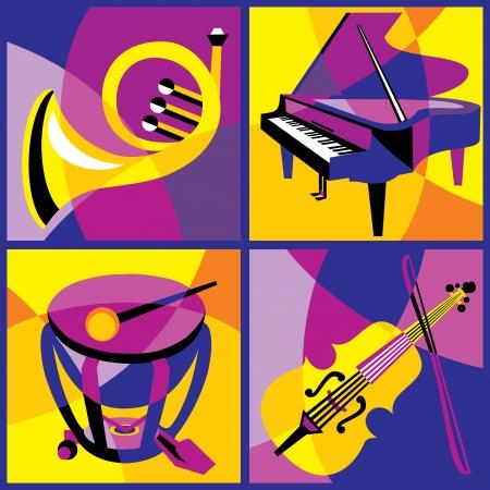 instruments de musique: collection d'images de diff�rents instruments de musique 1 Partie