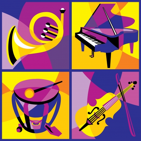 collection of images of various musical instruments  Part 1 Vector