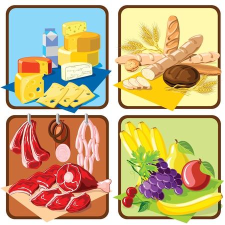 produits céréaliers: ensemble d'images pour l'épicerie épicerie et fenêtres marché