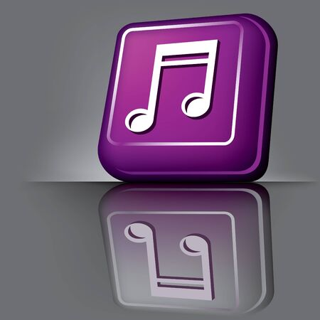 image volumetric computer button with the symbol of music