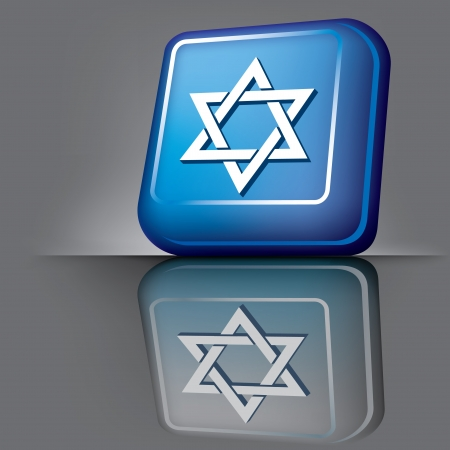 semite: image volumetric computer button with the symbol of Israel