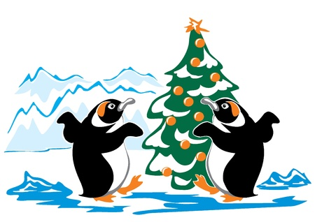 Two dancing penguin from the Christmas tree Stock Vector - 15016101