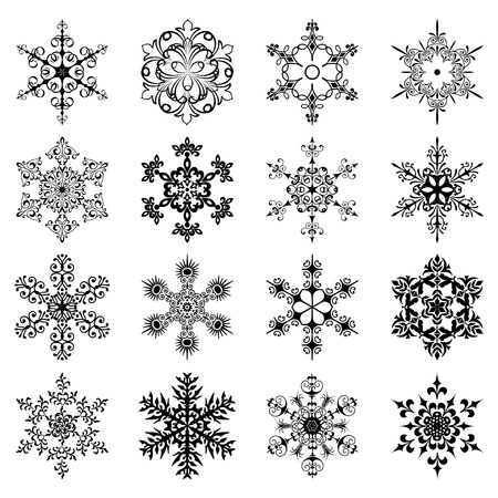 Set silhouette  of snowflakes Stock Vector - 15016200