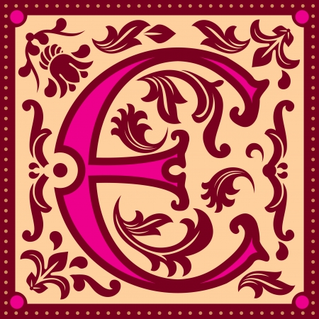 initial cap: vector image of letter E in the old vintage style