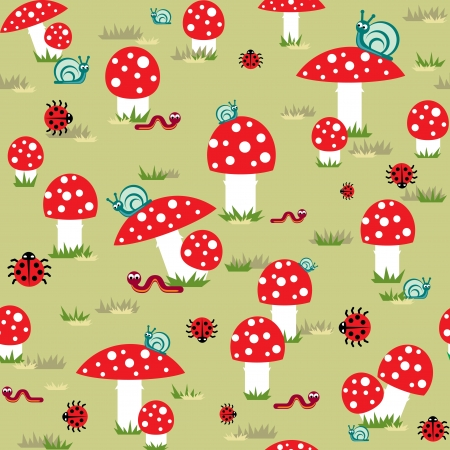cartoon mushroom: vector seamless  background of amanita with snails and caterpillars