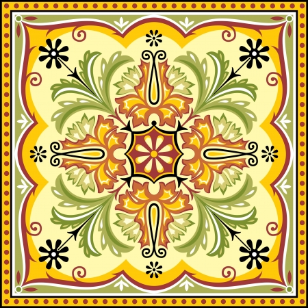 Square background with floral asian ornament