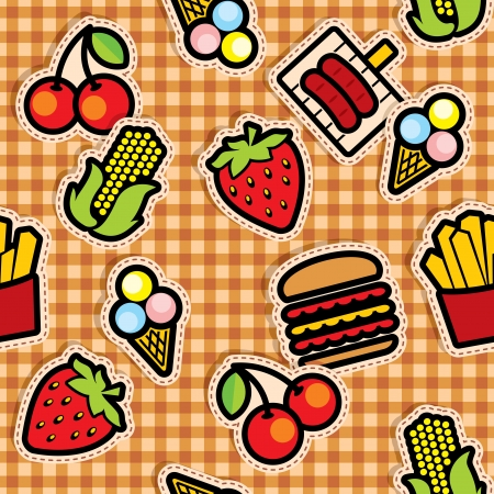 Seamless background with food icons on checkered tablecloth Vector