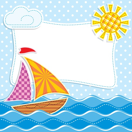Image of Sailing ship at sea textiles. Patchwork Vector