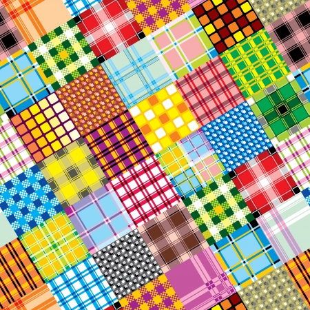 vector seamless background of textile patchwork