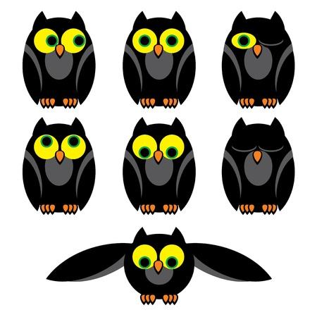 awake: set vector image of owls