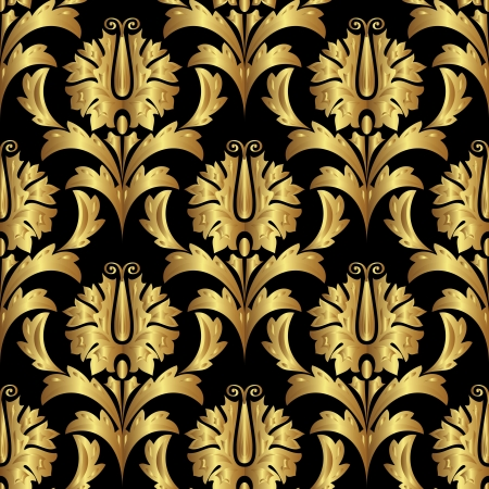 vector seamless gold background with floral ornament Stock Vector - 15389695
