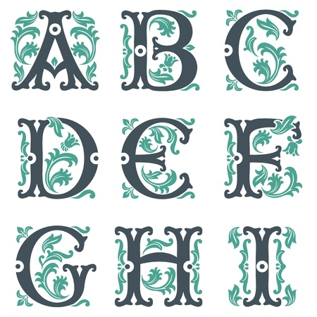 flower font: vector set of letters in the old vintage style. Part 1