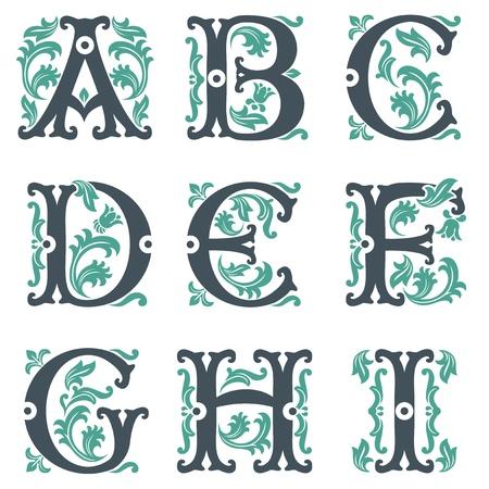 vector set van letters in de oude vintage stijl. Deel 1