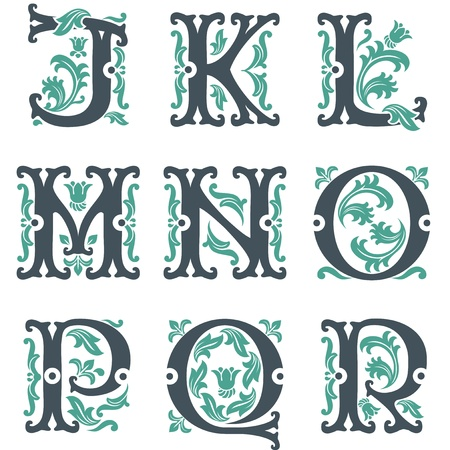 vector set of letters in the old vintage style. Part 2 Vector