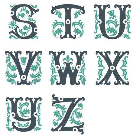 initial: vector set di lettere nel vecchio stile vintage. Parte 3