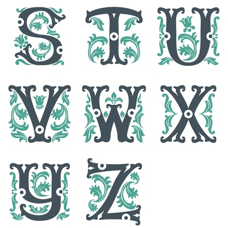 initials: vector set of letters in the old vintage style. Part 3 Illustration