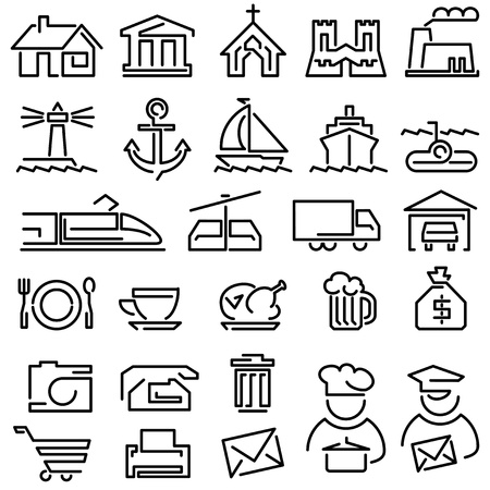 church building: Set of icons from the lines on a white background