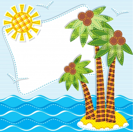 image of palm trees on an island in the textiles sea. Patchwork Vector