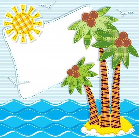 marine bird: imagen de palmeras en una isla en el mar textiles. Labor de retazos