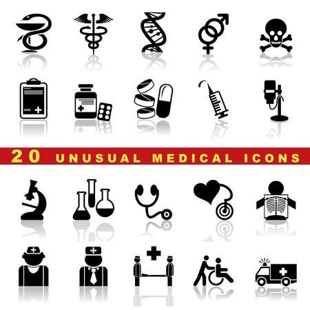 urgencias medicas: conjunto de iconos de m�dicos y el s�mbolo