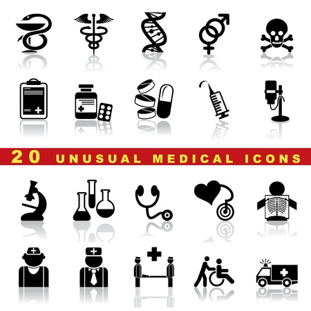 medical syringes: set di icone di medici e simbolo Vettoriali