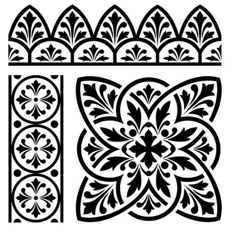 set of design elements for classic European ornament