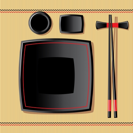 chinese meal: vector image of japanese tableware on a bamboo tablecloth