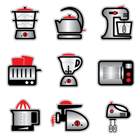 juicer: set vector images and icons of kitchenware and kitchen tools